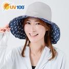 UV100 防曬 抗UV-雙面戴印花造型帽-馬尾洞