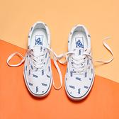VANS 休閒鞋 ERA 基本款 白藍 滿版英文 男女 (布魯克林) VN0A54F19M9
