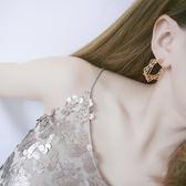 歐美個性簡約金屬風耳環 鏤空方形交叉交錯幾何耳釘耳飾【ADE640】