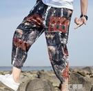 夏季亞麻褲子男薄款寬鬆大碼哈倫褲潮流沙灘七分短褲中國風燈籠褲 3C優購