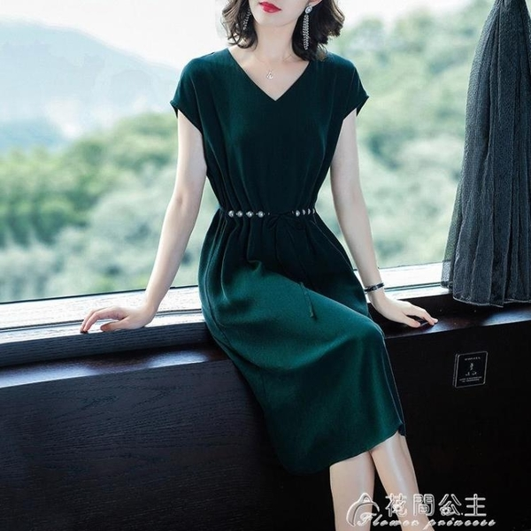 無袖洋裝卡鄰新款連身裙夏裝氣質v領寬鬆中長款裙子氣質名媛淑女長裙 快速出貨
