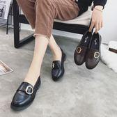 韓版學院英倫風小皮鞋 金屬扣厚底樂福鞋【多多鞋包店】z7175