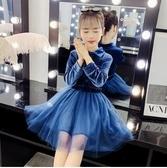 女童洋裝 女童連身裙2020新款秋季洋氣兒童金絲絨裙子秋裝小女孩長袖公主裙 零度3C