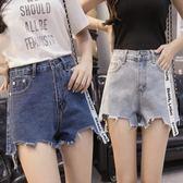 超短褲 2018夏新品韓版高腰毛邊不規則字母飄帶 GB519『優童屋』
