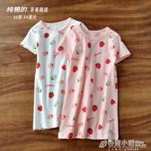 女童睡裙夏兒童純棉睡衣女小童裙子寶寶短袖家居裙夏季草莓洋裝 中秋節
