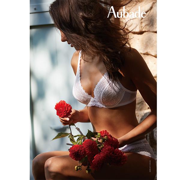 Aubade-古典美人C-D薄襯蕾絲內衣(白)HG