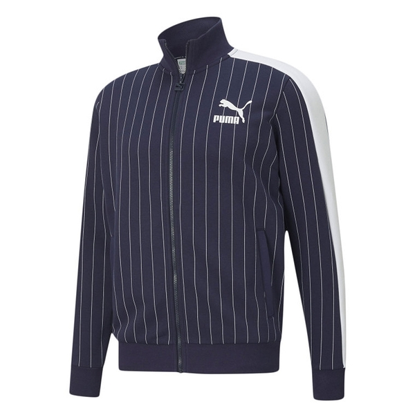 PUMA PINSTRIPE TRACK 男裝 外套 棉質 休閒 口袋 條紋 藍 歐規【運動世界】53017706