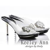 ★2018春夏★Keeley Ann閃爍動人~性感微透膚精緻亮片蝴蝶結造型高跟拖鞋(銀色)