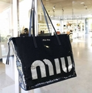 ■專櫃43折■ 全新真品■Miu Miu 5BG147亮片logo購物托特包 深藍色
