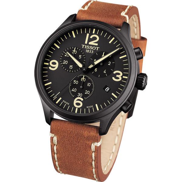 TISSOT天梭 韻馳系列 Chrono XL計時手錶-黑x咖啡/45mm T1166173605700