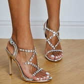 歐美透明水鉆大碼時尚ins高跟涼鞋女 夜店舞臺表演高跟鞋