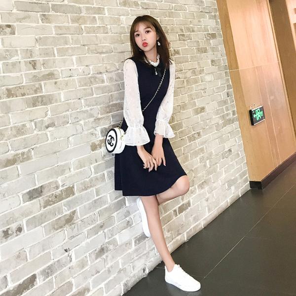 絕版出清 韓國風名媛優雅木耳圓領喇叭袖拼接長袖洋裝