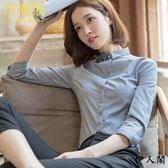七分袖襯衣女工作服工裝職業灰色襯衫