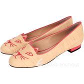 Charlotte Olympia Kitty 編織刺繡貓咪平底鞋(米黃色) 1530042-66