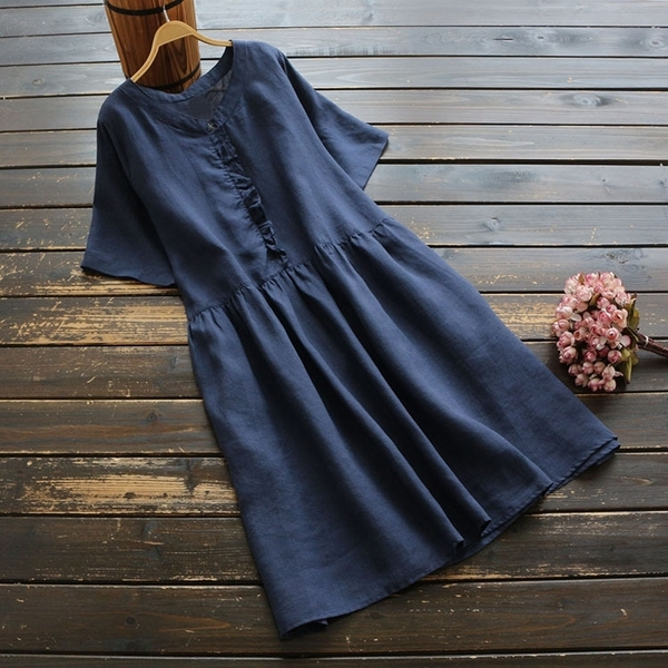 東京奈奈日系森林系棉麻短袖荷葉滾邊純色洋裝[j71256]