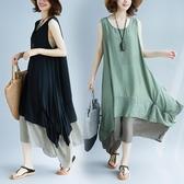 夏季新款寬松大碼洋裝 無袖背心長裙子胖mm撞色拼接不規則連衣裙女 快速出貨