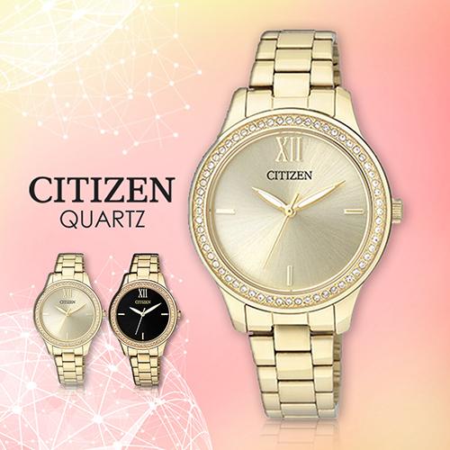 CITIZEN 星辰手錶專賣店 EL3082-55P 女錶 金黃面 晶鑽框 指針錶 簡約 不鏽鋼錶帶
