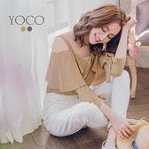 東京著衣【YOCO】小清新復古格紋肩帶平口袖綁帶上衣-S.M.L(180231)