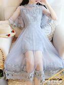 碎花蕾絲網紗imiss溫柔裙超仙收腰慵懶風長連身裙子女夏新款 時尚芭莎