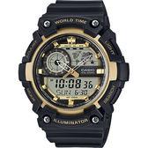 【CASIO 卡西歐】世界時間地圖手錶-黑金 AEQ-200W-9AVDF