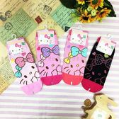 【KP】15-22cm 22-26cm 襪子 三麗鷗 Hello Kitty 大臉圖案 黑 粉 直版襪 孩童襪 成人襪