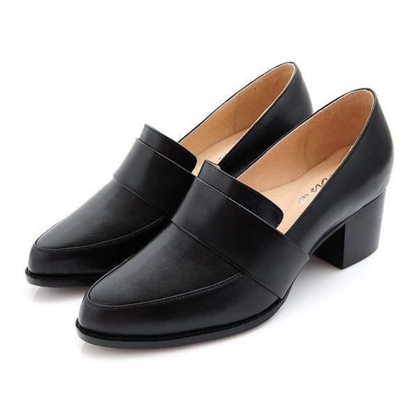 karine(MIT台灣製)全真皮素面粗跟樂福鞋-原皮黑