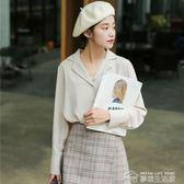 棉麻上衣長袖襯衫女學生韓版新款秋裝寬鬆小清新韓版V領上衣襯衣女裝  夢想生活家