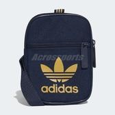 adidas 側背包 Originals Festival Bag 男女款 小包包 隨身包 手機包 深藍 金 【ACS】 DV2408