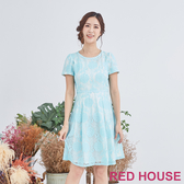【RED HOUSE 蕾赫斯】蕾絲花朵洋裝(淺藍色)