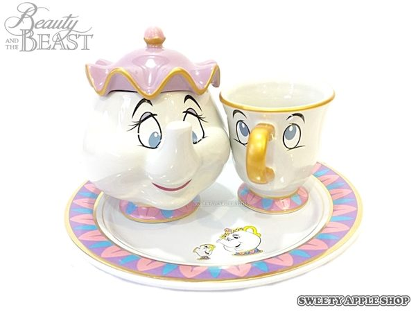 東京迪士尼限定 日本製 美女與野獸 茶壺媽媽 & 阿齊 陶瓷 餐盤