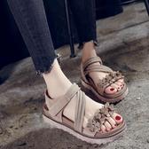 厚底涼鞋 女涼鞋夏厚底鬆糕跟羅馬復古涼鞋女 中跟露趾學生涼鞋女   Cocoa