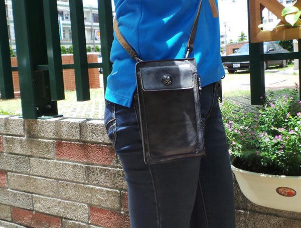 真真皮手機腰包-日系風植鞣革擦色樹羔皮單肩包 htc 手機袋 手機包 斜包 真皮包 零錢包(水墨黑)