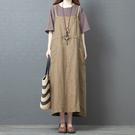 棉麻洋裝連身裙2102#春夏裝新款系帶寬松棉麻大碼遮肚子亞麻大口袋背帶裙MA110依佳衣