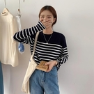 早秋上衣年新款韓版網紅撞色條紋針織衫女長袖薄款內搭打底衫 小山好物