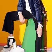 【SHOWCASE】配色綠條開叉修身質感寬褲(黑)