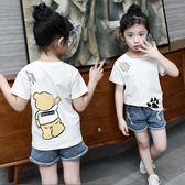 上衣 童裝女童短袖T恤夏裝新款兒童圓領韓版上衣女寶寶白色打底衫 艾美時尚衣櫥