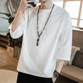 中國風夏男裝亞麻棉麻大碼上衣短袖T恤寬鬆中袖七分袖半截袖唐裝