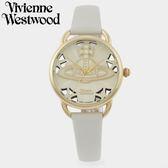 【萬年鐘錶】 Vivienne Westwood  英國時尚  鏤空造型皮革腕錶  金色  42mm  VV163CMCM