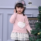 小童粉色粉色圓點愛心口袋蕾絲裙擺 洋裝 ...