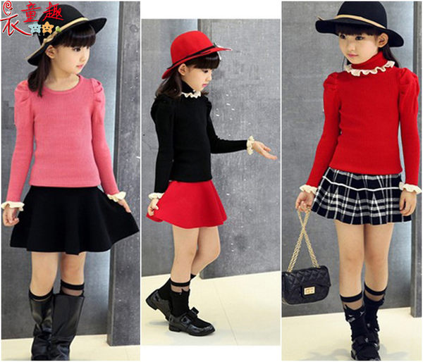 衣童趣 ♥中大女童韓版氣質款長袖上衣 時尚英倫風甜美 圓領高領長袖百搭款上衣