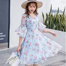 98882-QF #度假風 #雪紡 #中大碼 #雪紡洋裝 #V領 #韓系洋裝 #荷葉袖 #洋裝