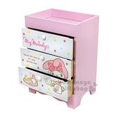 〔小禮堂〕美樂蒂 桌上型三抽收納盒《粉白.下午茶》抽屜盒.木製櫃 4713052-38548