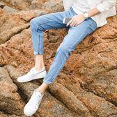 新款牛仔褲男士初中學生修身休閒9分小腳褲子韓版潮流九分褲