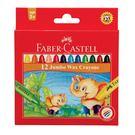 【德國 FABER-CASTELL】紅色無毒系列 大象粗芯蜂蠟筆 12色