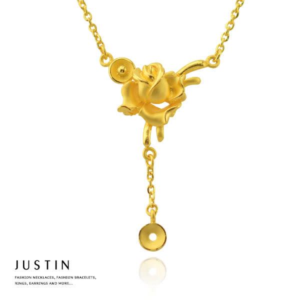 Justin金緻品 黃金項鍊 燦爛之戀 金飾 9999純金套鍊 金項鍊 金鍊子 玫瑰