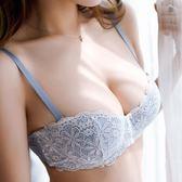 性感蕾絲 半杯文胸 舒適聚攏小胸加厚收副乳少女內衣無鋼圈藍色胸罩     花間公主