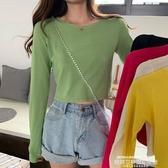 秒殺針織衫秋季2020新款打底衫修身緊身冰絲薄款長袖內搭短款針織T恤上衣女