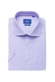 SST&C 男裝 紋理紫色短袖襯衫 | 0412004006