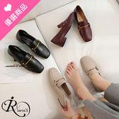 歐美時尚個性金屬一字扣方頭低跟鞋/3色/35-39碼 (RX0399-H819) iRurus 路絲時尚
