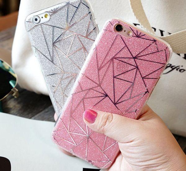 [24hr-現貨快出] iphone7 6 plus 新款 時尚 線條 閃粉保護套